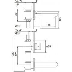 STEINBERG - Podomietková umývadlová batéria 2-otvorová bez montážneho telesa, chróm (170 1804)