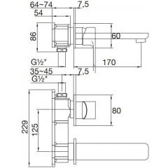 STEINBERG - Podomietková umývadlová batéria 2-otvorová bez montážnej sady, chróm 205 1804