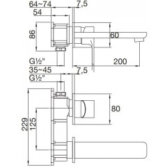 STEINBERG - Podomietková umývadlová batéria 2-otvorová bez montážneho telesa, chróm 205 1814