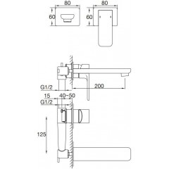 STEINBERG - Podomietková umývadlová batéria 2-otvorová vrátane mosadzného telesa, chróm (205 1815)