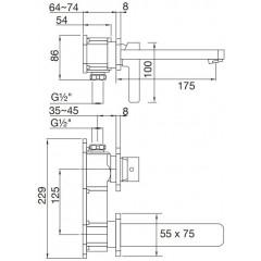 STEINBERG - Podomietková umývadlová batéria 2-otvorová bez montážneho telesa, chróm 230 1804