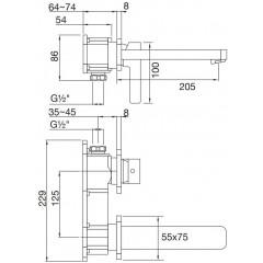 STEINBERG - Podomietková umývadlová batéria 2-otvorová bez montážneho telesa, chróm 230 1814