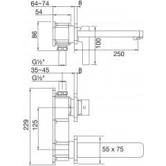 STEINBERG - Podomietková umývadlová batéria 2-otvorová bez montážneho telesa, chróm 230 1824