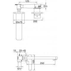 STEINBERG - Podomietková umývadlová batéria 2-otvorová s mosadzným telesom, chróm 230 1820