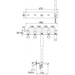 STEINBERG - Podomietková vaňová batéria 5-otvorová vrátane montážneho telesa, chróm (230 2692)