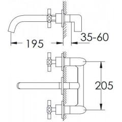 STEINBERG - Podomietková umývadlová batéria 3-otvorová vrátane mosadzného telesa, chróm (250 1902)