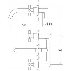 STEINBERG - Podomietková umývadlová batéria 3-otvorová vrátane mosadzného telesa, chróm (250 1916)