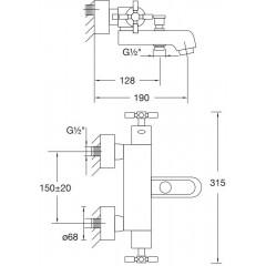 STEINBERG - Nástenná termostatická vaňová batéria bez príslušenstva, chróm 250 3100