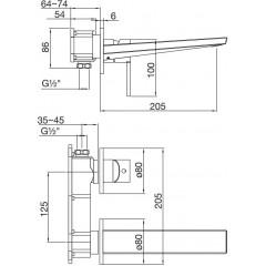 STEINBERG - Podomietková umývadlová batéria 2-otvorová, bez podomít. telesa, chróm 260 1814