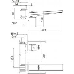 STEINBERG - Podomietková umývadlová batéria 2-otvorová, bez podomít. telesa, čierna mat 260 1814 S