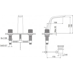 STEINBERG - Umývadlová 3-otvorová s výpusťou, chróm / frozen (360 2000 16)