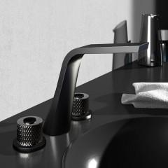 STEINBERG - Umývadlová 3-otvorová s výpusťou, čierna mat / čierna (360 2000 77)