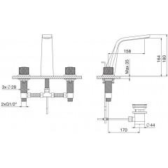 STEINBERG - Umývadlová 3-otvorová s výpusťou, kartáčovaný nikel / čierna (360 2000 67)