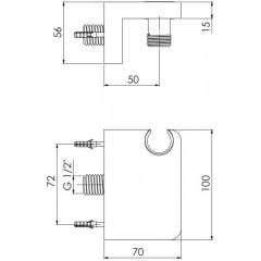 STEINBERG - Nástenné kolienko s držiakom ručnej sprchy 230 1667