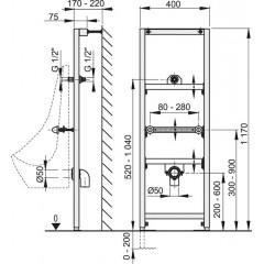 Alcaplast Modul pro pisoár 1200 mm montážní rám (A107/1200)