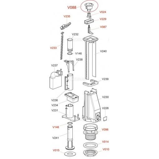 Alcaplast V010 -matice M 60x3 k vyp.ventilu A2000 (V0010-ND)