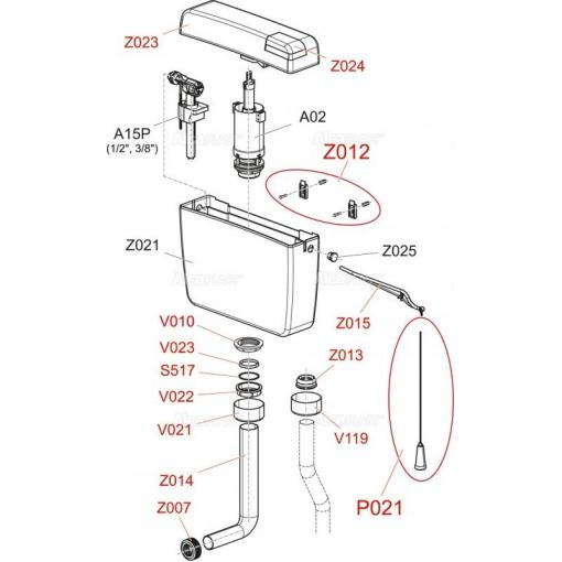 Alcaplast Z0015-ND páka ovládací bílá k nádrži A-94 (Z0015-ND)