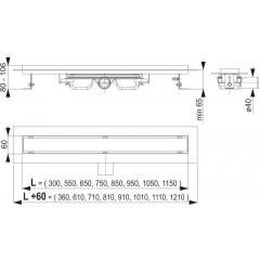 Alcaplast APZ106 Professional- liniový podlahový žlab snížený pro plný rošt 550 APZ106-550