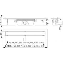 Alcaplast APZ6 Professional- liniový podlahový žlab pro plný rošt 550 APZ6-550