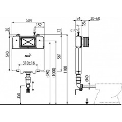 Alcaplast modul do zdi Slim AM1112 nádrž pro WC stojící na podlaze AM1112