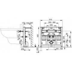 Montážní rám pro bidet - stavební výška 0,45 m ALCAPLAST A105/450 A105/450