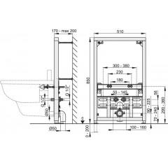 Montážní rám pro bidet - stavební výška 0,85 m ALCAPLAST A105/850 A105/850