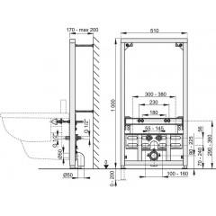 Montážní rám pro bidet - stavební výška 1 m ALCAPLAST A105/1000 A105/1000