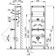 Alcaplast Montážní rám pro pisoár s možností rozšíření o senzorový splachovač (A107S/1200)