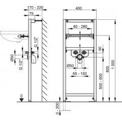 Montážní rám pro umyvadlo - stavební výška 1 m ALCAPLAST A104/1000 A104/1000