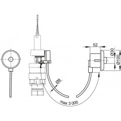 Alcaplast Oddálené pneumatické splachování ruční do zdi bílé MPO10