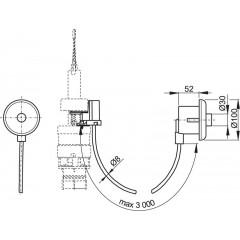 Alcaplast Oddálené pneumatické splachování ruční do zdi chrom-lesk MPO11