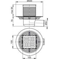 Alcaplast Podlahová vpust 105 × 105/50 boční, mřížka nerez, vodní zápachová uzávěra APV1311
