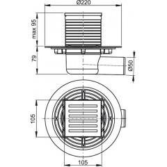 Alcaplast Podlahová vpusť 105x105/50 boční mosaz-chrom APV103