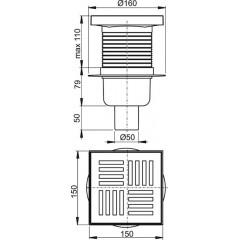 Alcaplast Podlahová vpust 150 × 150/50 přímá, mřížka šedá, vodní zápachová uzávěra APV6211