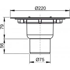 Alcaplast podlahová vpust 50/75 přímá tělo (APV4000)