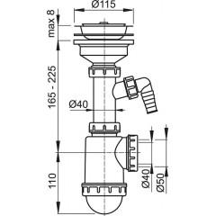 Alcaplast Sifon dřezový s nerezovou mřížkou pr.115 a přípojkou (A446P-DN50/40)