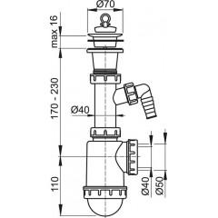 Alcaplast Sifon dřezový s plastovou mřížkou pr.70 a přípojkou A442P-DN50/40