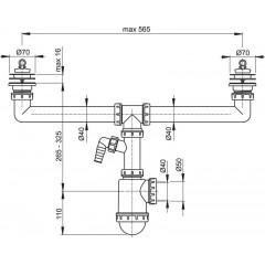 Alcaplast Sifon pro dvoudřez s nerezovými mřížkami pr.70 a přípojkou A449P-DN50/40