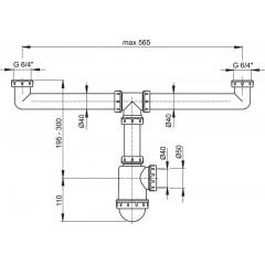 Alcaplast Sifon pro dvoudřez s převlečnými maticemi 6/4 A448-DN50/40