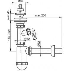 Alcaplast Sifon umyvadlový DN32 s přípojkou a nerezovou mřížkou pr.63 (A410P)