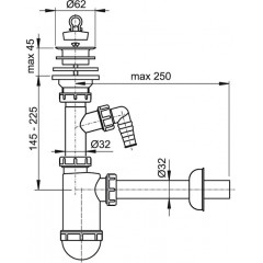 Alcaplast Sifon umyvadlový DN32 s přípojkou a plastovou mřížkou pr.63 A420P