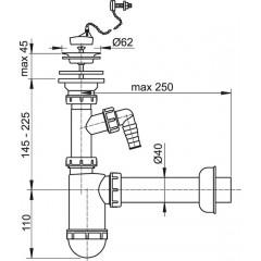 Alcaplast Sifon umyvadlový DN40 s příp., nerez. mřížkou pr.63, řetízek (A41PR)