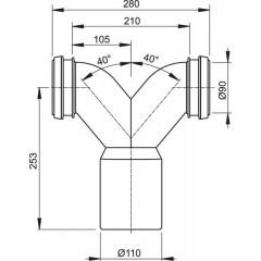 Alcaplast Spojovací dvojité koleno 90° s těsněním a ochrannými zátkami pro závěsné WC (M909)