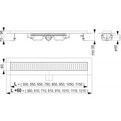 Alcaplast APZ101-650-LOW podlahový žlabvýška 55mm SNÍŽENÝ kout min. 700mm APZ101-650