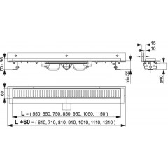 Alcaplast APZ104-650-LOW podlahový žlab ke zdi v.55mm SNÍŽENÝ min. 700mm kout (APZ104-650)