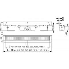 Alcaplast APZ4-650 podlahový žlab ke zdikout min. 700mm APZ4-650
