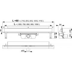 Alcaplast APZ5-EDEN-750 podlahový žlab do zdi-nerez leskkout min. 800mm SPA APZ5-EDEN-750