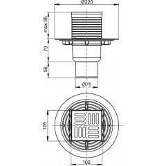 Alcaplast Podlahová vpusť 105 × 105/50/75 priama, mriežka nerez, vodná zápachová uzávera APV2311