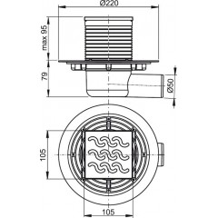 Podl.vpusť 50 boční 10,5x10,5 mosaz-chrom ALCAPLAST plast APV102 (APV102)