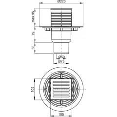 Podl.vpusť 50 spodní 10,5x10,5 mosaz-chrom ALCAPLAST plast APV203 APV203